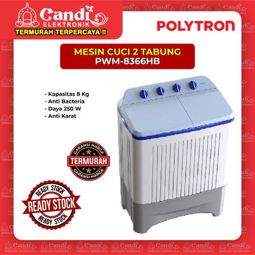 Foto Produk MESIN CUCI 2 TABUNG POLYTRON PWM-8366HB dari Candi Elektronik Solo