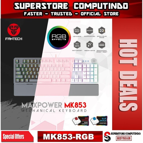 Foto Produk Fantech MAXPOWER MK853 Gaming Mechanical Keyboard - Hitam, Red Switch dari SuperStore Computindo