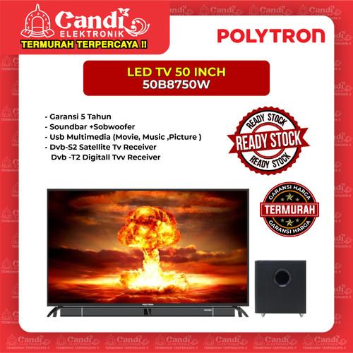 Foto Produk LED TV PLUS SOUNDBAR POLYTRON 50 INCH 50B8750W dari Candi Elektronik Solo
