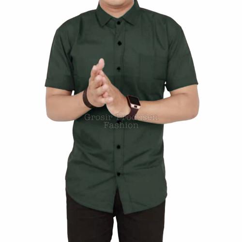 Foto Produk Kemeja Lengan Pendek / Kemeja Pria / Kemaja Polos / Kemeja Kasual - Hijau Army, M dari Grosir Produsen Fashion