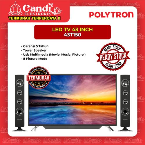Foto Produk LED TV PLUS TOWER SPEAKER POLYTRON 43 INCH 43T150 dari Candi Elektronik Solo
