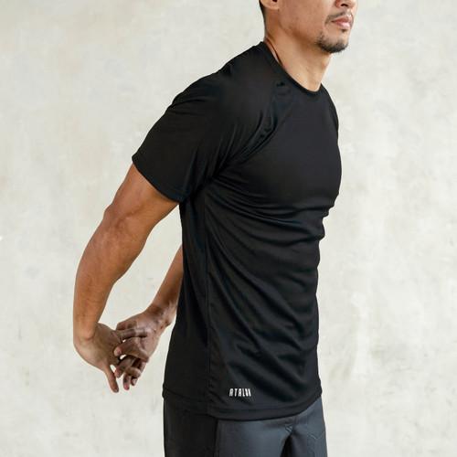 Foto Produk Baju Olahraga Lari Gym Fitness - Atalon Solid Short Sleeve - Hitam, M dari Atalon Sportswear