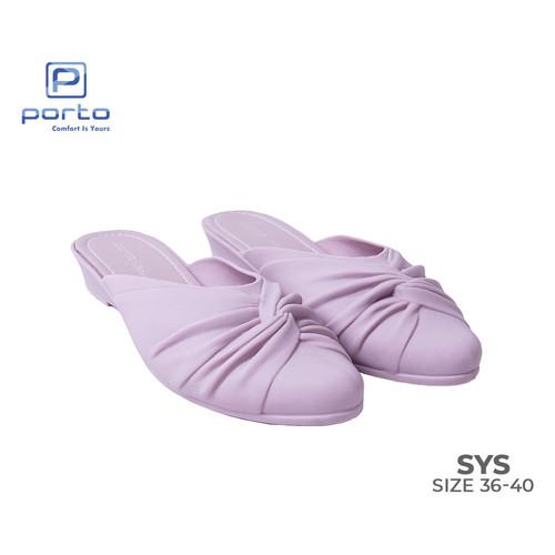Foto Produk Porto - Sepatu Wanita Wedges Cantik Casual Selop Terbaru SYS - Ungu, 36 dari Porto Footwear