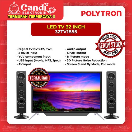 Foto Produk LED TV PLUS TOWER SPEAKER 32 INCH POLYTRON 32TV1855 dari Candi Elektronik Solo