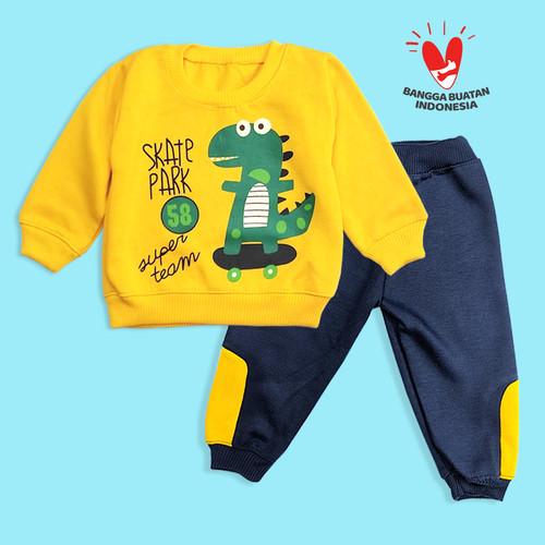 Foto Produk DINO baju bayi laki-laki 6 12 Bulan setelan Baju Anak Berkualitas - Kuning dari Zainma Store