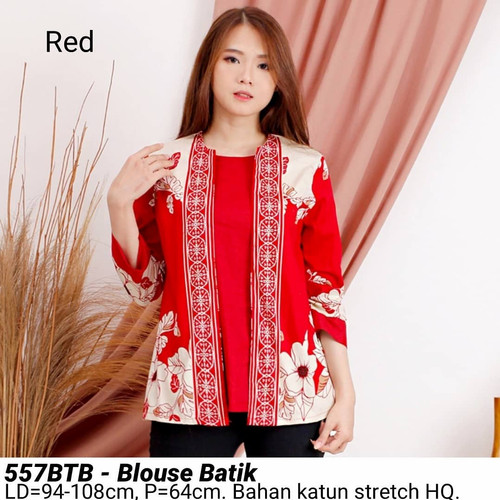 Foto Produk BLOUSE BATIK 557 ATASAN KERJA KANTOR MODERN BAJU WANITA CANTIK MURAH - BTB Red dari Ace Sakura Fashion