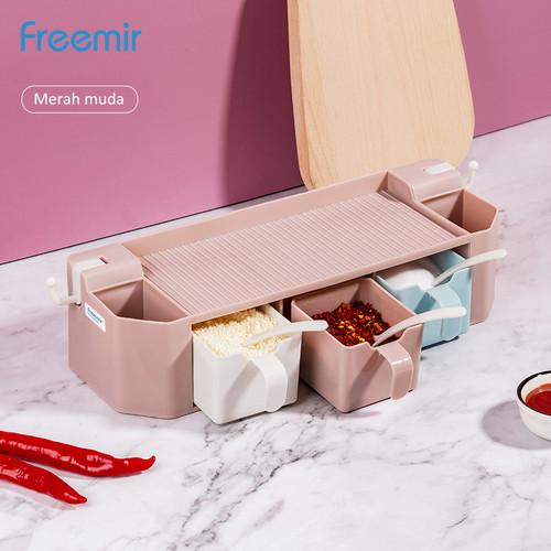 Foto Produk freemir Kotak Wadah Bumbu Dapur Gantung Tempat Penyimpanan Garam - Merah Muda dari freemir Official Store