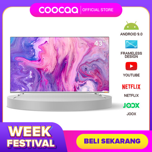 Foto Produk COOCAA 43 inch Android 9.0 Smart LED TV- FHD- Built in Netflix (43S6G) dari Coocaa Official Store
