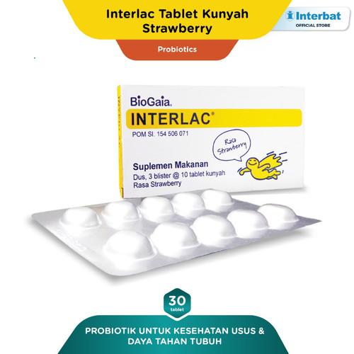 Foto Produk Interlac Probiotik Tablet Kunyah Strawberry - 3 blister @10 tablet dari Interbat Consumer Health