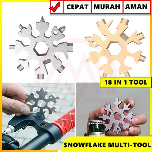 Foto Produk SNOWFLAKE MULTI TOOL 18 IN 1 GANTUNGAN KUNCI SALJU 18 IN 1 SURVIVAL - Gold dari Modifikasi Market