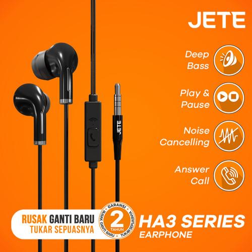 Foto Produk Headset   Headphone   Handsfree   Earphone JETE HA3 Super Bass - Hitam dari JETE Official Surabaya
