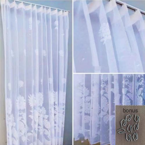 Foto Produk vitrse gorden / vitras / daleman gordeng / vitrase motif matahari - Putih, L100xT200 cm dari denova collection