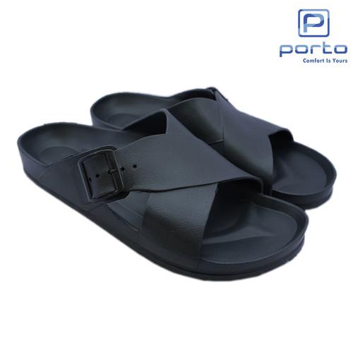Foto Produk Porto - Sandal Pria Sandal Selop Casual Original Terbaru 1040M - Hitam, 41 dari Porto Footwear