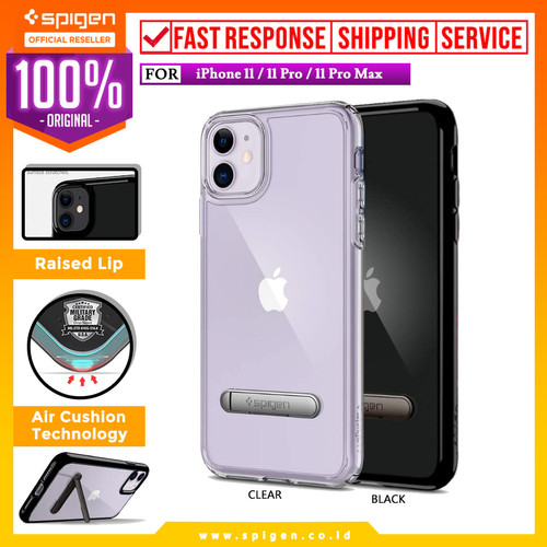 Foto Produk Case iPhone 11 Pro Max/11 Pro/11 Spigen Ultra Hybrid S Stand Casing - 11 Pro Max, Crystal Clear dari Spigen Official