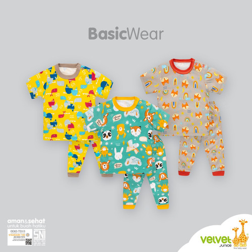 Foto Produk Velvet Junior 3 STEL Setelan Baju Pendek + Celana Panjang - GEMS IN THE SKY, MEDIUM dari Chubby Baby Shop