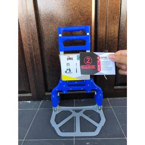 Foto Produk Multifunction Folded Trolley -- Troli lipat serbaguna - Biru dari Two Online