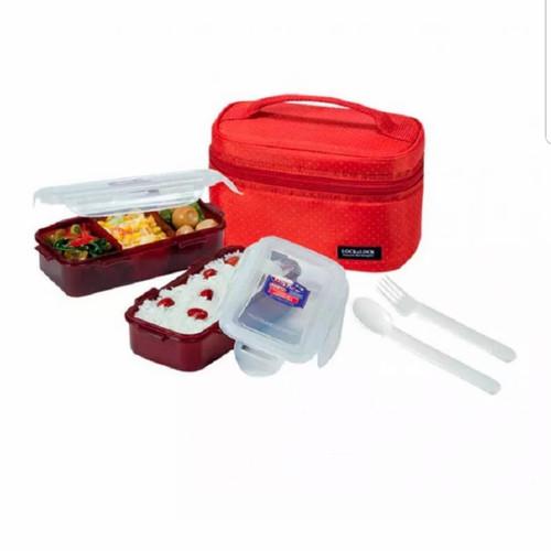 Foto Produk Promo Lock&Lock Lock n Lock Lunch Box Set 3 in 1 HPL764 Bag - Merah 2 Pcs Set dari Baby Ananta