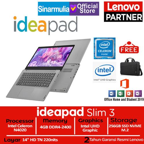 Foto Produk Laptop Lenovo ideapad Slim 3i Celeron N4020 256 GB SSD Win10+OHS Murah dari Sinarmulia Sukses Makmur