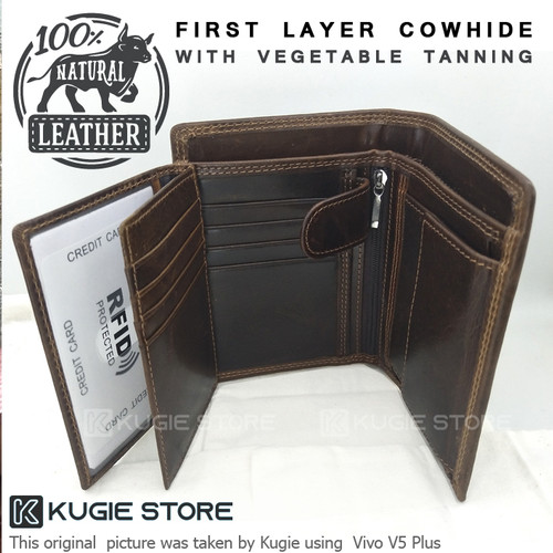 Foto Produk Dompet Pria Dompet Kulit Asli First Layer Cowhide Leather DK02 - Tanpa Box dari Kugie Store