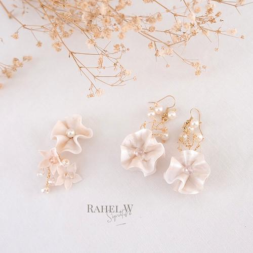 Foto Produk Waves Eleanor Anting Hook Wedding Nikah Handmade Putih Gelombang dari RahelWSignature