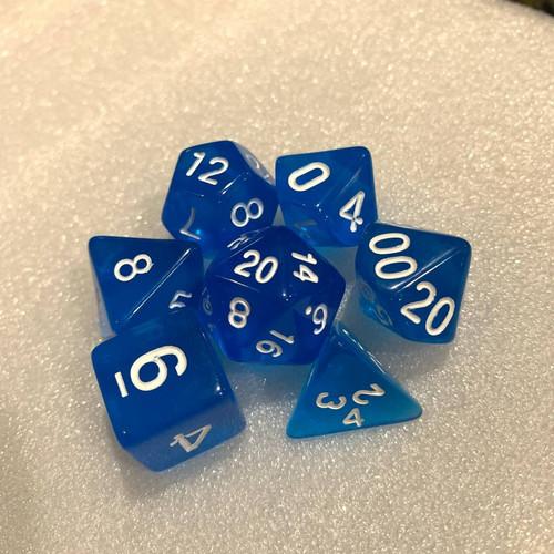 Foto Produk Transparent RPG Dice Set (D4, D6, D8, D10, D10%, D12, D20) - Biru dari Tabletoys