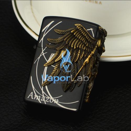 Foto Produk mancis korek api gas bara las model zippo amazon harley gas lighter - Amazon Black dari VAPOR LAB