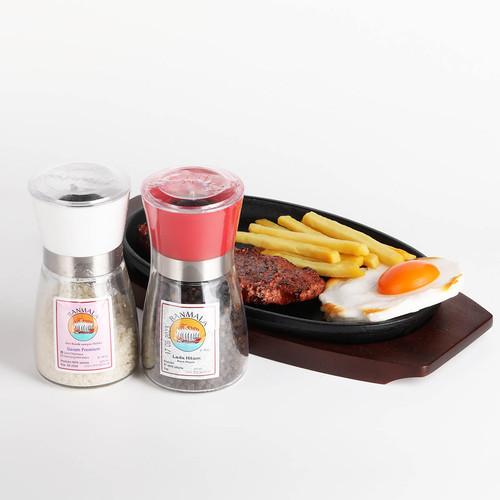 Foto Produk Banmala Pepper and Salt Mill/Grinder paket duo Lada + Garam - Merah-Putih-LH dari Maharaja Coffee