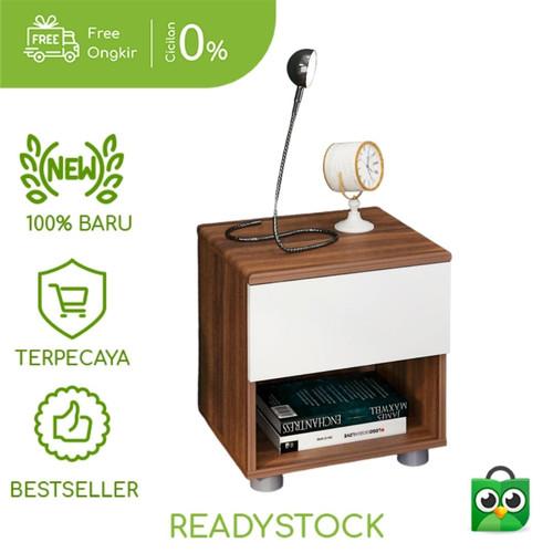 Foto Produk Bed Side Table Nakas Meja Samping Oak Wood White - Furnil Furniture dari furnil-furniture