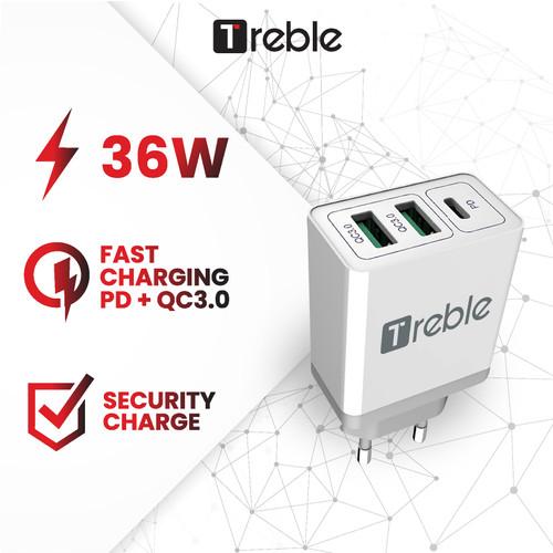 Foto Produk Adaptor Charger TREBLE 3Port USB+Type C Fast Charging 36 W - TCG6 dari Trebleofficialstore