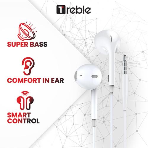 Foto Produk Treble Wired Headset Wired Earphone Bass Android iPhone Original - white dari Trebleofficialstore