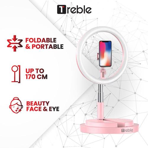 Foto Produk TREBLE JS Portable Tripod Selfie Ring Light LED Phone Holder - TRL01 - Merah Muda dari Joyseus Official Store