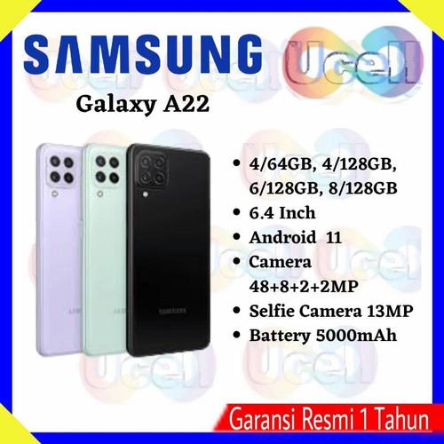 Foto Produk Samsung Galaxy A22 4G - 4/64GB , 4/128GB , 6/128GB - Garansi Resmi - Hitam, 6/128GB dari ucell cempaka