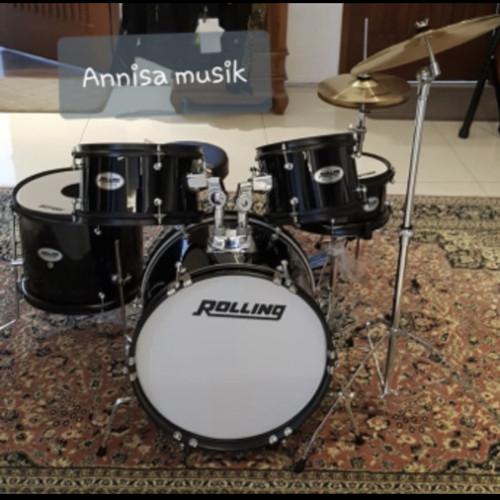 Foto Produk Drum set junior Rolling JBJ - 1049A / Drum set anak - Hitam dari Anisa musik Bandung