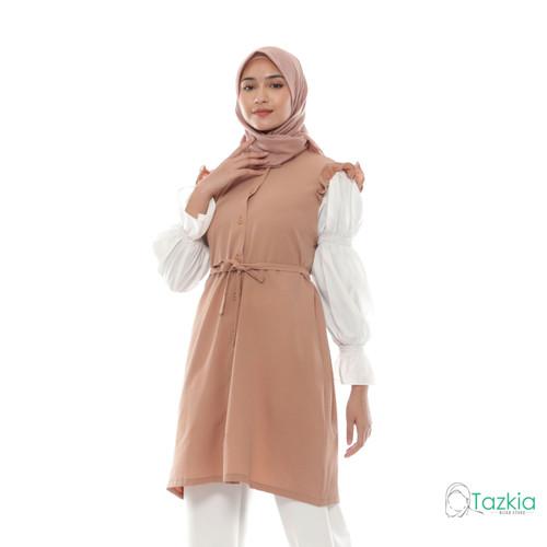 Foto Produk Atasan Muslim Wanita   Aurora Tunik Cokelat   M L XL   Tazkia Hijab - M dari Tazkia Hijab Store