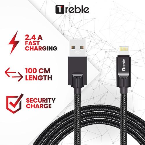 Foto Produk Kabel data TREBLE / Cable data Lightning 100 CM Black - TKB9-L TKB11-L - Hitam dari Trebleofficialstore