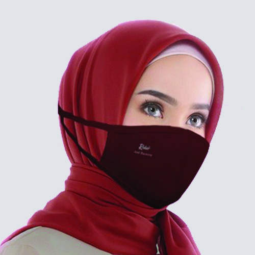 Foto Produk Masker Kain Anti Bakteri 2 PLY - RIDER Brand - Dewasa Hijab Headloop - Maroon dari Moteza Indonesia
