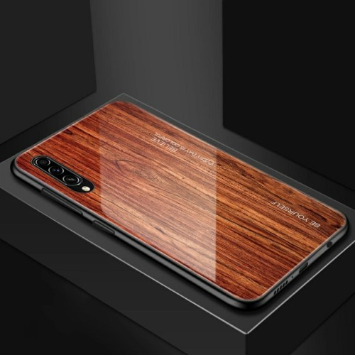 Foto Produk WoodGrain Glass Case Samsung Galaxy A70 SamsungA70 Back Cover Casing - E dari Akhe Online Shop