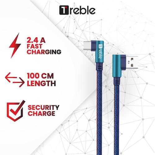 Foto Produk Kabel Data/ Cable Data 90 Degree Type C 2.4A TREBLE 100CM - TKB2-C dari Trebleofficialstore