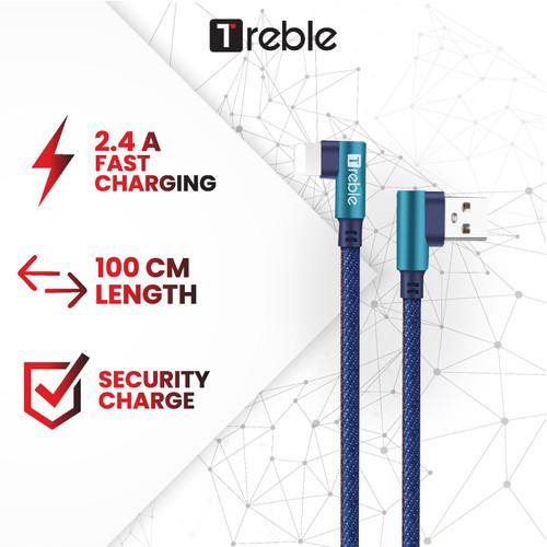 Foto Produk Kabel Data/ Cable Data 90 Degree Lightning 2.4A TREBLE 100CM - TKB2-L dari Trebleofficialstore