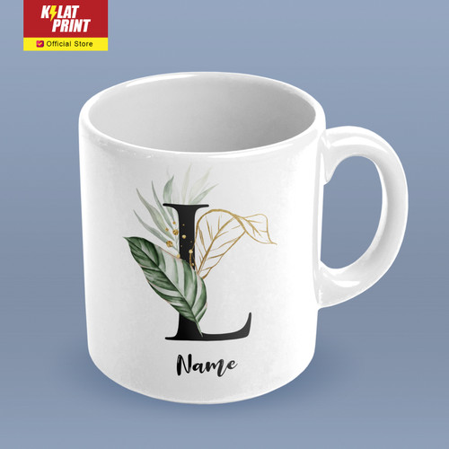 Foto Produk Cetak Mug Custom Nama Initial Alphabet Natural dari Kilat Print