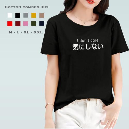 Foto Produk Kaos Wanita I DON'T CARE / Tshirt Katun Combed 30s / Tumblr Tee - M, Hitam dari Kaos Katoen