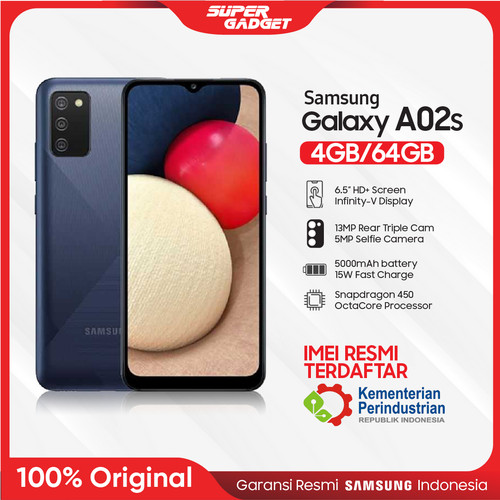Foto Produk Samsung A02S 4/64 GB Galaxy Smartphone RAM 4 ROM 64 4/64GB 5000 Mah - Blue, Non Bundle dari SUPER_GADGET