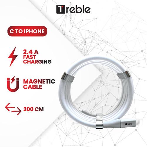 Foto Produk TREBLE Type C Magnet Kabel Charger Kabel Data 1.8 Meter - TKB6 - Lightning, Putih dari Trebleofficialstore