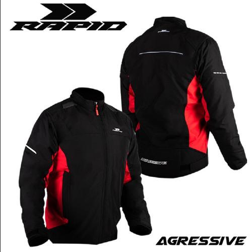 Foto Produk Jaket motor RAPID AGRESSIVE riding style reflektif printing - Hitam/Merah, L/XL dari Rapidjacket