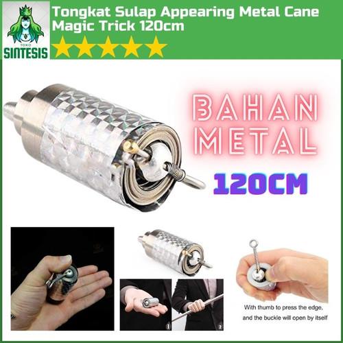 Foto Produk Tongkat Sihir Sulap Magic Stick Appearing Metal Cane Panjang 120cm - SILVER (120CM) dari Toko Sintesis
