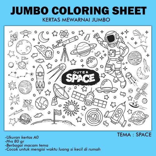 Foto Produk JUMBO COLORING SHEET 84x118cm KERTAS MEWARNAI JUMBO PART 1 - SPACE dari mommestore