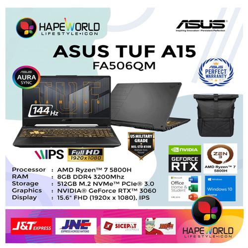 Foto Produk ASUS TUF GAMING A15 FA506QM - R7-5800H 8GB 512GB RTX3060 144Hz W10 OHS dari Hapeworld Mall