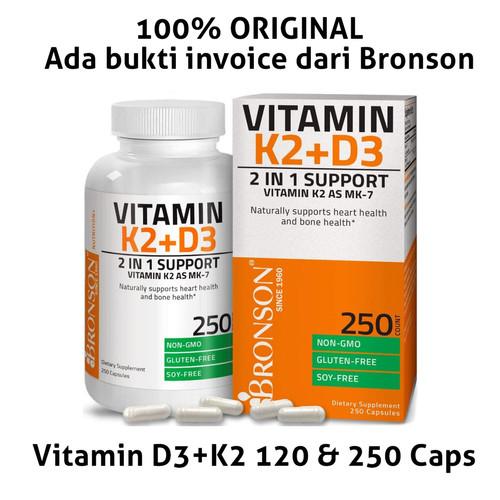 Foto Produk BRONSON Vitamin D3 + K2 (MK7) 5000IU 120caps, 250 caps, 360caps - D3+K2 120caps dari Koreanholicshop