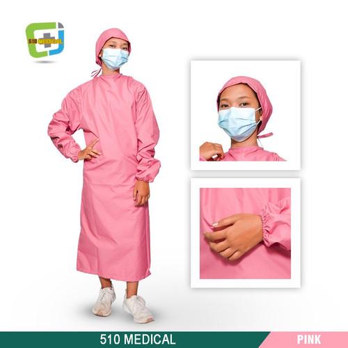 Foto Produk APD Surgical Gown Taslan Waterproof Baju Bedah Medis Operasi Anti Air - Pink, all size dari DLUFFY STORE