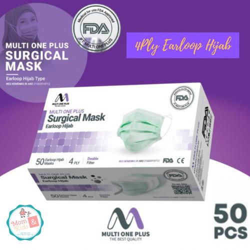 Foto Produk Masker Surgical Hijab Multi One Plus 4 Ply (50 pcs) - Surgical Green dari Toko Susu Mom n Kids